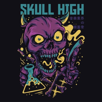 Skull high cartoon funny illustration