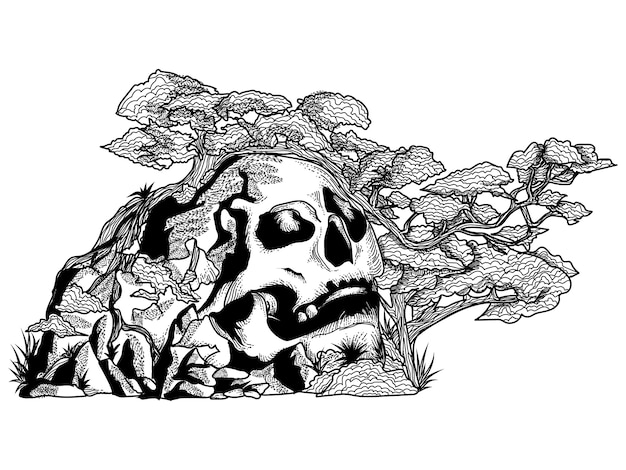 Skull hill with trees black and white illustration