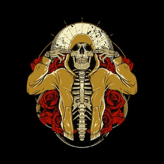 Skull hip hop rose graphic illustration art