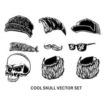 Skull hipster and cool accessories set