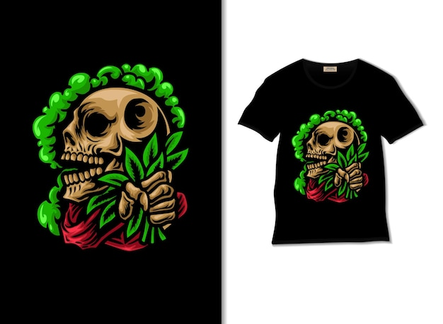 Skull holding cannabis with smoke illustration with t shirt design