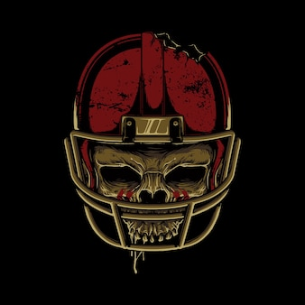 Skull horror football graphic illustration art tshirt design
