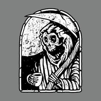 Skull horror grim reaper drink coffee illustration art design