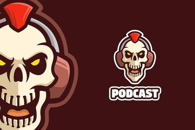 Skull horror scary podcast logo mascot