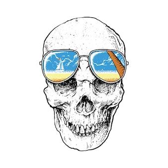해골 공포 여름 해변 휴가 일러스트 아트 디자인