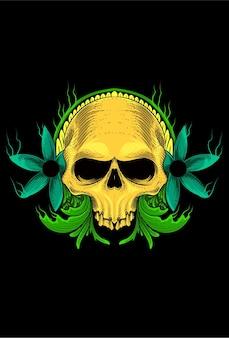 Skull human with flower vector illustration