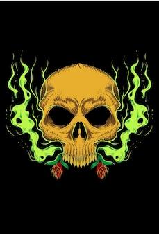 煙と花のベクトル図と人間の頭蓋骨