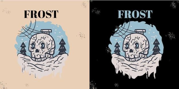 Tシャツの頭蓋骨のイラスト