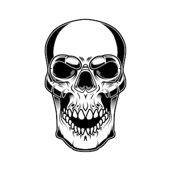 白い背景で隔離の頭蓋骨のイラスト。ロゴ、ラベル、サイン、バッジ、ポスターのデザイン要素。ベクトル画像