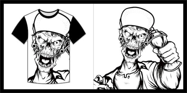 Skull illustration for t shirt design