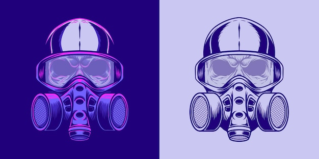 Skull illustration using a mask in retro neon style