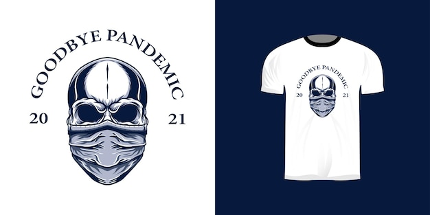 Skull illustration using a mask for the t-shirt design