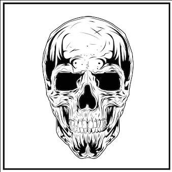 Skull illustration white