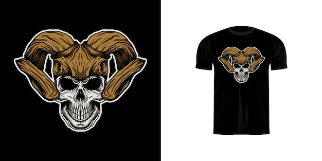 Tシャツデザインの鹿の頭蓋骨のヘルメットと頭蓋骨のイラスト