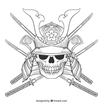 Skull illustration with swords