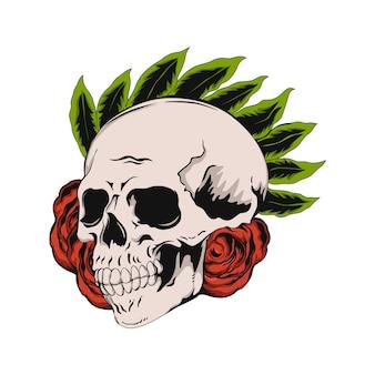 Tシャツの頭蓋骨イラストデザイン