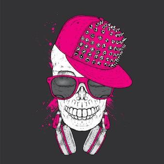 Череп в стильной кепке и наушниках.