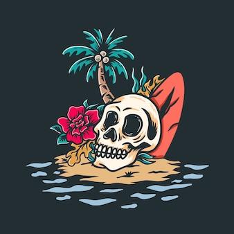 ビーチの頭蓋骨レトロなデザインイラスト