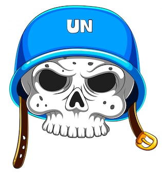 白地に青いヘルメットの頭蓋骨