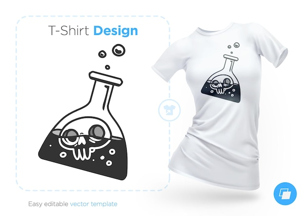 フラスコのイラストと t シャツのデザインの頭蓋骨