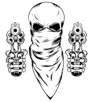 イラストの2つの拳銃とマスクの頭蓋骨