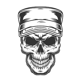 군사 모자에 두개골