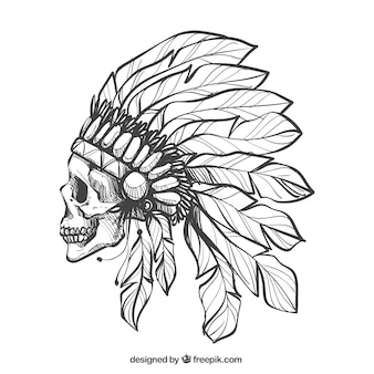 Skull in profile with feathers hat