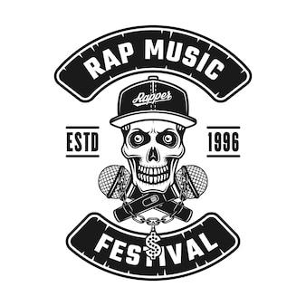텍스트 랩 음악 축제가 있는 스냅백 모자 벡터 엠블럼, 배지, 레이블 또는 로고의 해골. 흰색 배경에 고립 된 빈티지 흑백 스타일 그림