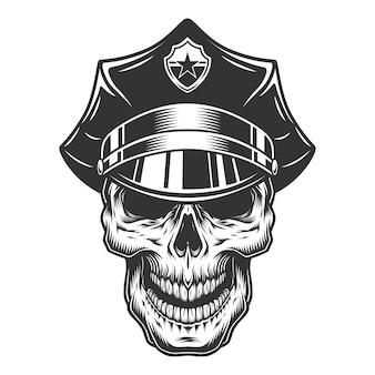 警官の帽子の頭蓋骨