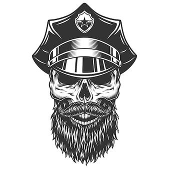 경찰관 모자에 두개골