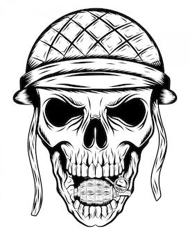 그림의 군인 헬멧에 두개골