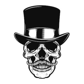 ビンテージハットの頭蓋骨。ポスター、エンブレム、看板、エンブレム、tシャツの要素。図