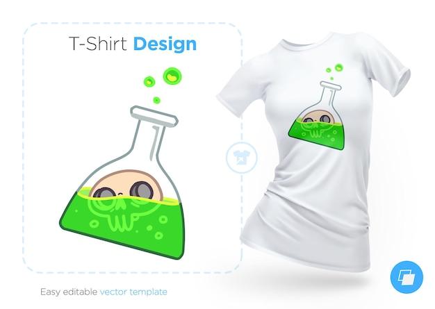 Дизайн футболки in vitro с черепом. печать на одежду, плакаты или сувениры. векторная иллюстрация