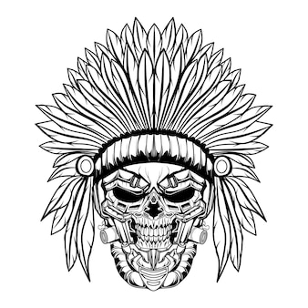 Skull indian  black and white