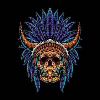 Skull indian horn illustration