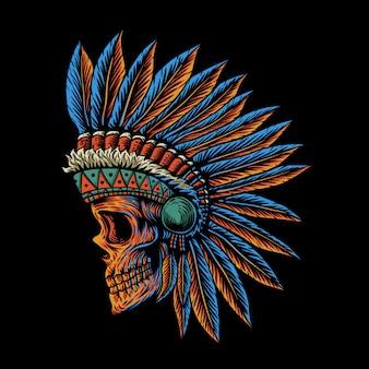 Skull indian side position illustration