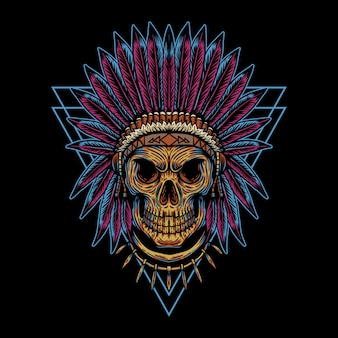 Skull indian triangle badge illustration