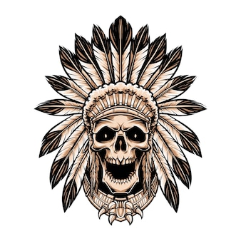 Skull indian wearing headdress isolated on white