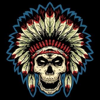スカルインディアナアパッチヘッドマスコットデザインロゴ