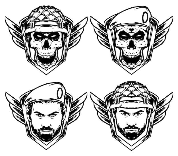 Черепа пехота и командир черепа военный дизайн упаковки