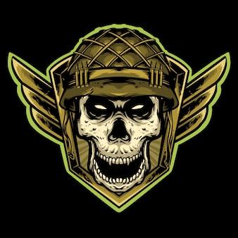 Skull infantry army logo  mascot