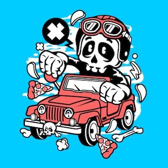 Skull jeep cartoon
