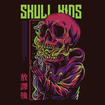 Skull kids illustration