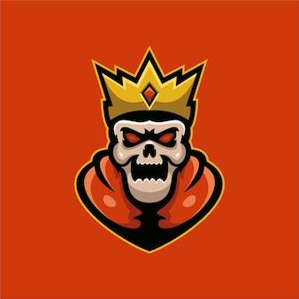 해골 왕 머리 만화 로고 템플릿 그림입니다. e스포츠 로고 게임 프리미엄 벡터