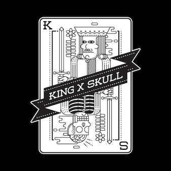 Skull king horror card graphic illustration art tshirt design