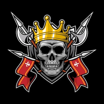 Череп короля королевства стиля для дизайна футболки