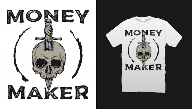 Skull and knife illustration tshirt design