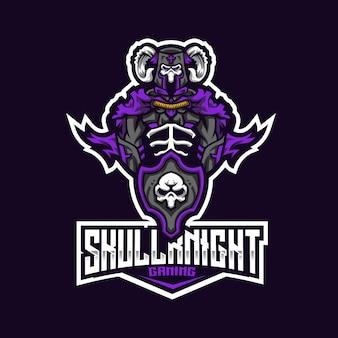 Шаблон логотипа skull knight esport