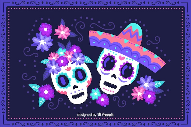 Skull ladies hand drawn día de muertos background