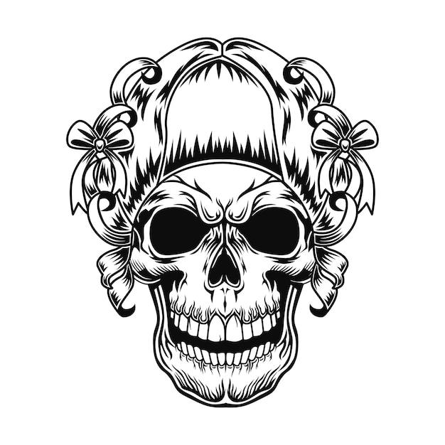 Skull of lady vector illustration. head female character with retro hairstyle with ribbons and bows